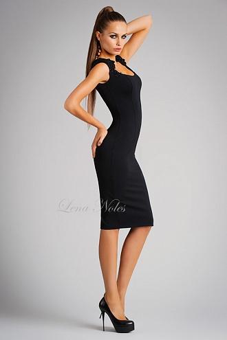 Черное коктельно платье
